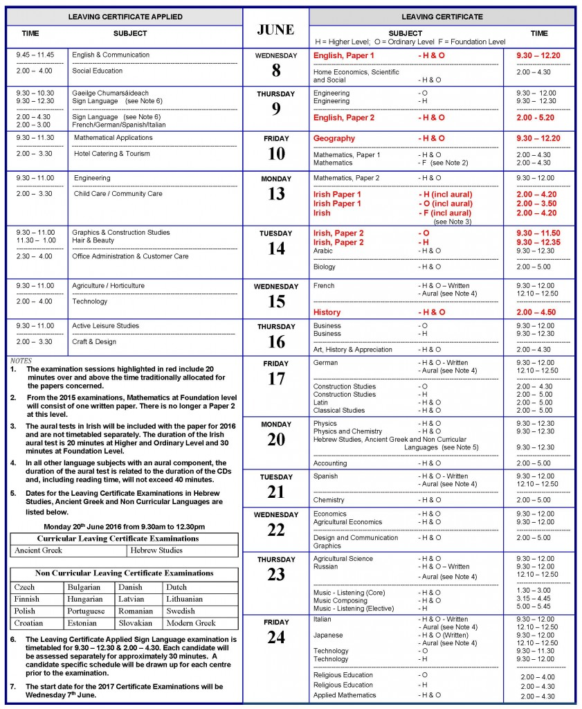 841 x 1024 jpeg 301kB, ... State Examinations timetable for Junior ...